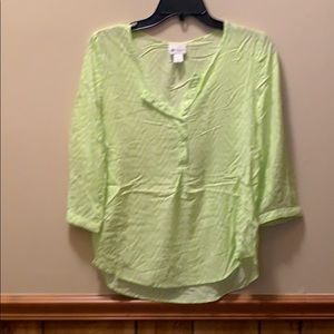 Women's neon green chevron blouse. Size S
